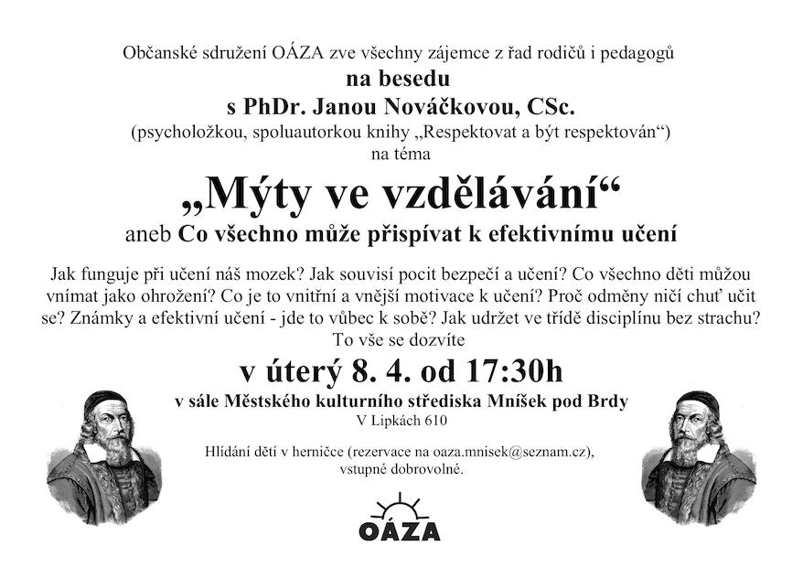 Plakátek k besedě Mýty ve vzdělávání